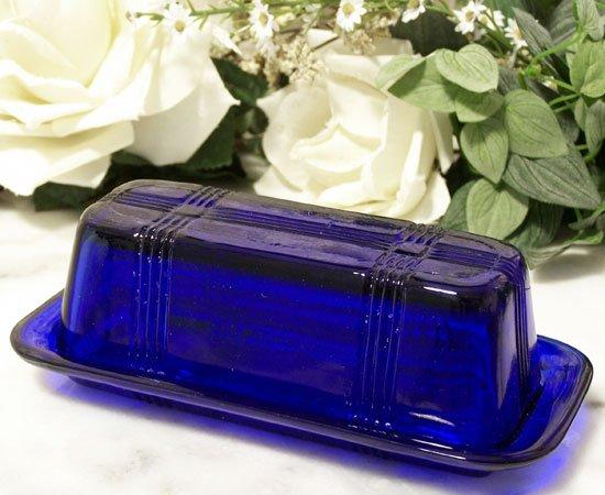 Cobalt Blue Glass Butter Dish