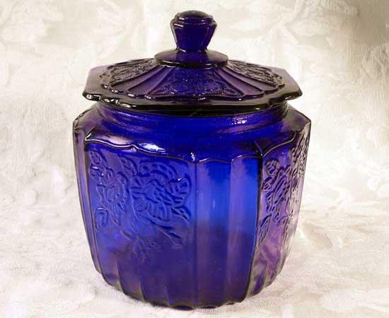 Blue Mayfair Glass Cookie Jar