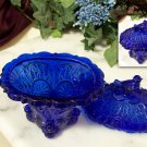 Colbolt Blue Glass Bird Compote
