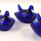 Set 12 Cobalt Blue Glass Mini Hen on Nest