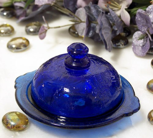 Colbolt Blue Glass Round Butter Dish