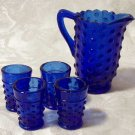 Colbolt Blue Glass Hobnail Water Set