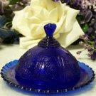 Round Cobalt Blue Glass Strawberry Butter Dish