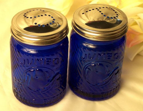 Cobalt Blue Jumbo Elephant Salt & Pepper Shakers