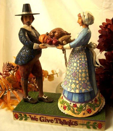 Jim Shore Pilgrims with Turkey On Platter