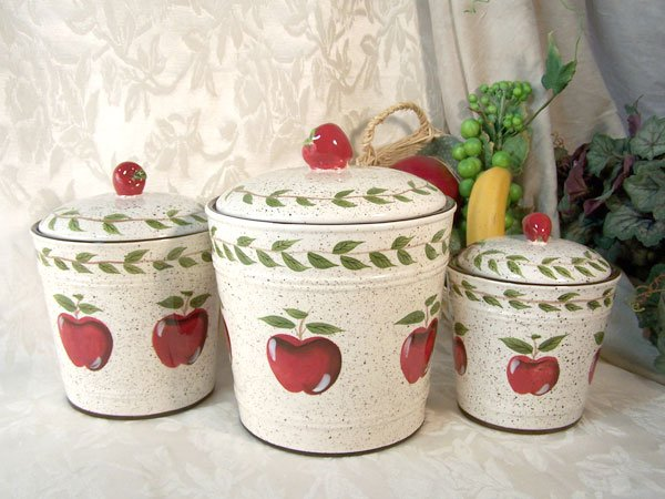 """Apple Canister Set of Three """"Country"""""""
