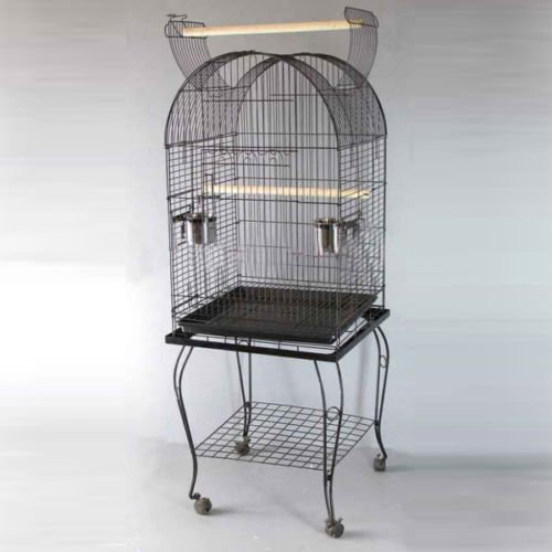 Pet Parrot Budgie Canary Cockatiel Aviary Bird Cage Open Roof with Stand Wheel