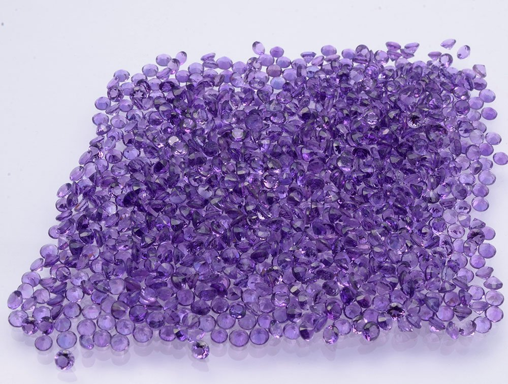 Certified Natural Amethyst AAA Quality 1 mm faceted Round 50 pcs Lot