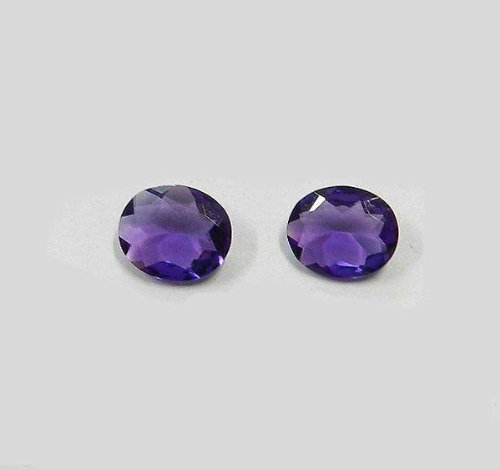 Certified  Natural Amethyst AA Quality 9x11 mm faceted Oval 1 pair 2 pcs