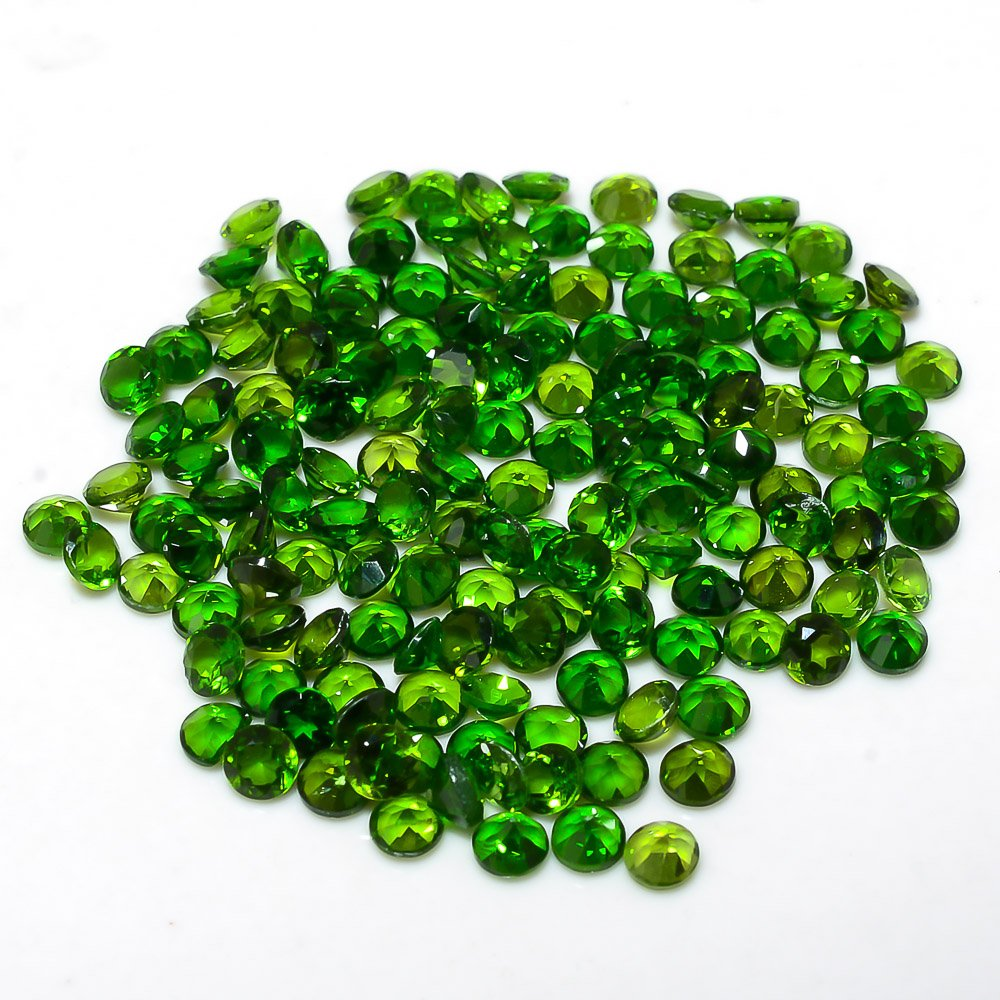 Certified Natural Chrome diopside AAA Quality 1.75 mm faceted Round 100 pcs lot