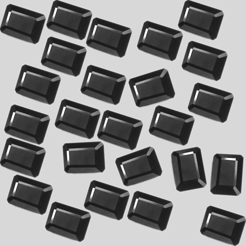 Certified Natural Black Spinel AAA Quality 8x6 mm faceted Octagon 50 pcs lot
