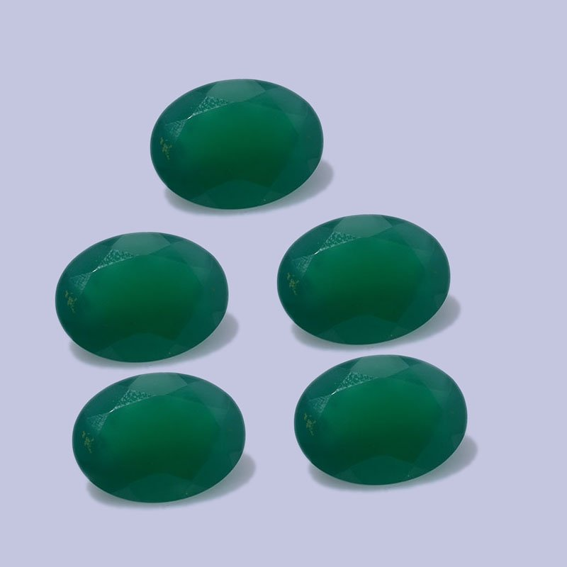 Certified Natural Green Onyx AAA Quality 10x14 mm faceted Oval 5 pcs lot