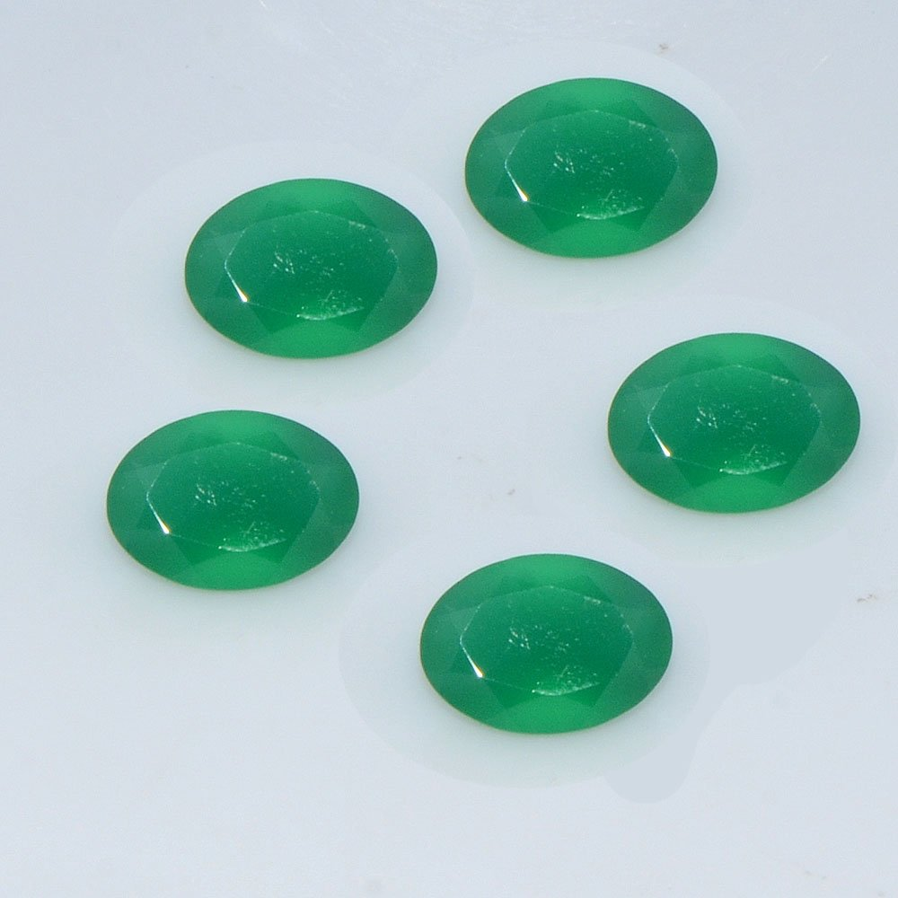 Certified Natural Green Onyx AAA Quality 16x12 mm faceted Oval 5 pcs lot