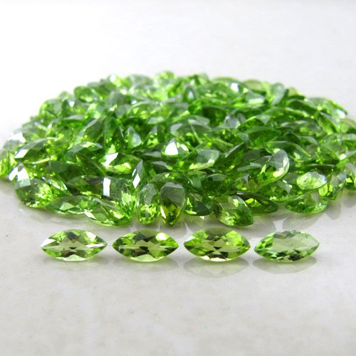Certified Natural Peridot AAA Quality 7x3.5 mm Faceted Marquise 50 pcs lot