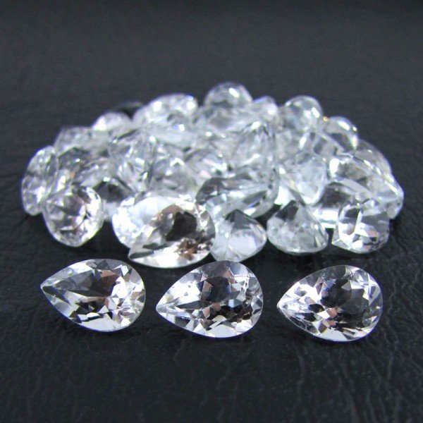 Certified Natural White Topaz AAA Quality 8x6 mm Faceted Pear 50 pcs lot