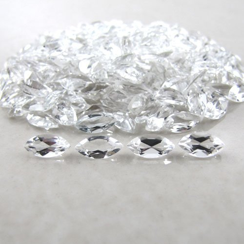 Certified Natural White Topaz AAA Quality 8x4 mm Faceted Marquise 2 pcs pair