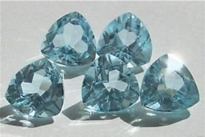 Natural Sky Blue Topaz AAA Quality 6 mm Faceted Trillion 2 pcs pair