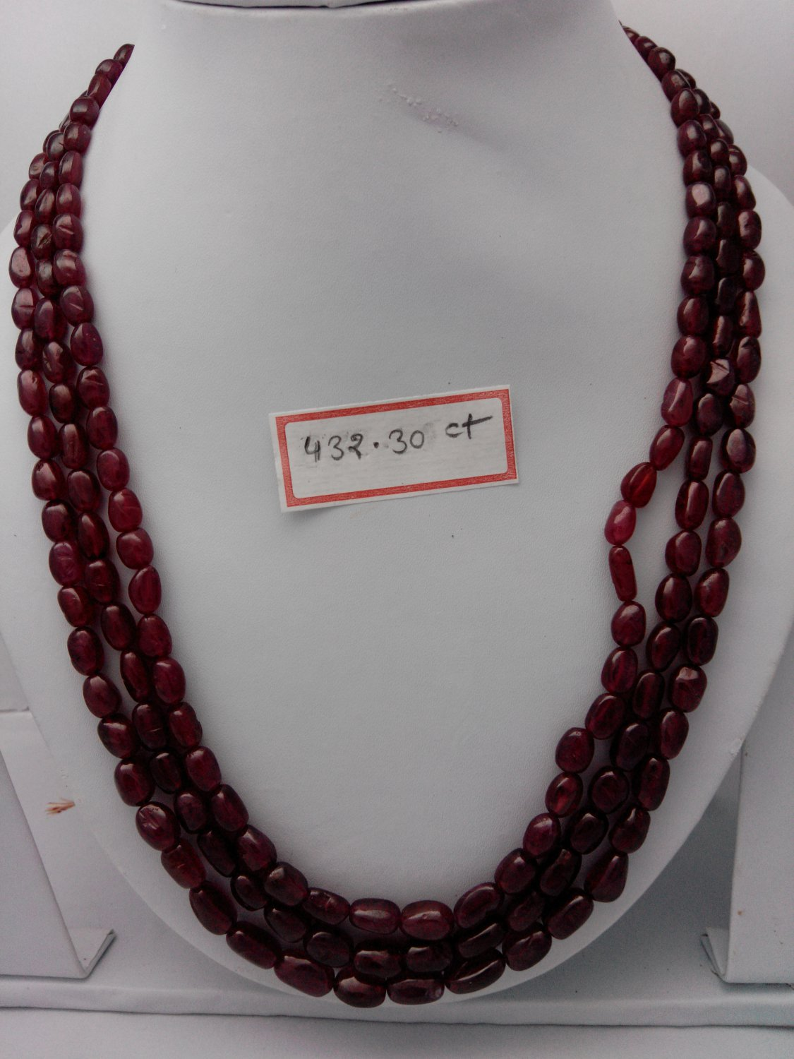 Certified Fissure Filled Ruby necklace of 432.30 cts Fancy Oval briolettes plane Polish