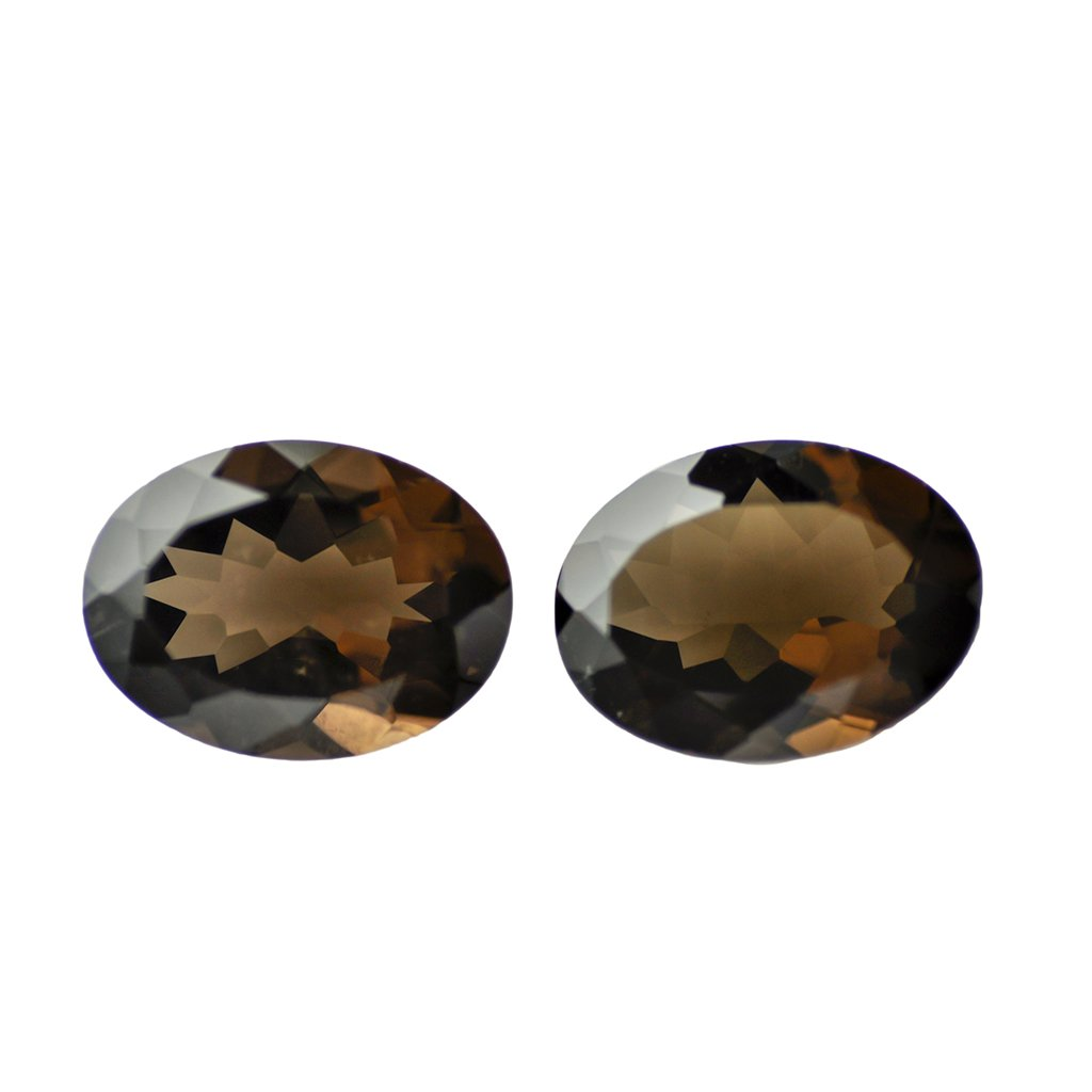 Certified Natural Smoky Quartz AAA Quality 8x6 mm Faceted Oval Shape Pair Loose Gemstone