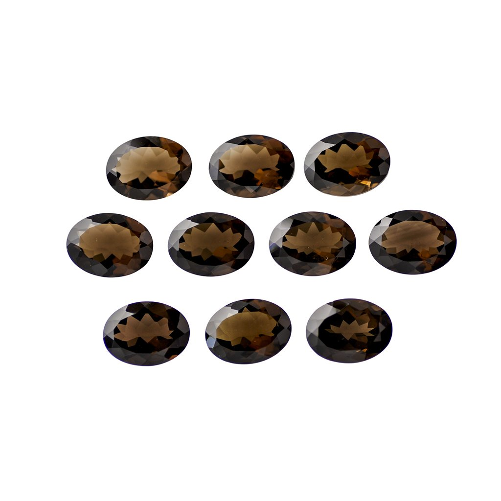 Certified Natural Smoky Quartz AAA Quality 10x8 mm Faceted Oval Shape 5 pc lot Loose Gemstone