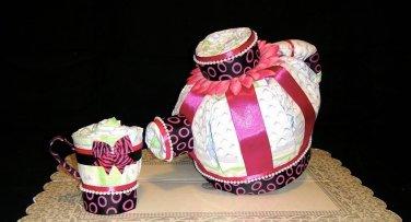 Baby Shower Tea Pod Centerpiece & Baby gift diaper cake by Little KG's Dreams