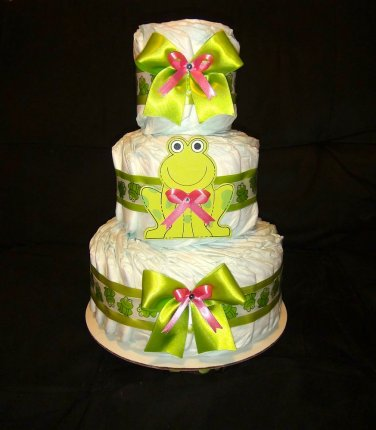 Green and Pink Baby Girl Frog Diaper Cake Centerpiece , stroller, etc PICK YOURS