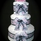 Paris Tower Eiffel Theme Girl Diaper Cake, motorcycle, stroller, centerpiece