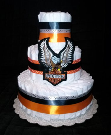 Three Tier Harley Davidson Diaper Cake for Baby Shower By Little Kg's Dreams by Little KG's Dreams