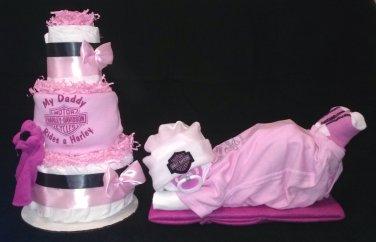 Pink Harley Davidson Baby Shower Set Diaper Cake Centerpiece By Little Kg's Dreams