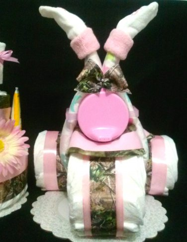 Camouflage Boy or Girl Diaper Cake, stroller, motorcycle, tricycle - Pick yours