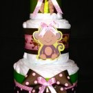 Precious baby blue & brown Or pink & brown w/ pacifier diaper cake