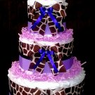 Blue Pink Green Zebra Diaper Cake for boy and baby girl by Little KG's Dreams