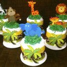 Set of Small Safari Jungle Diaper Cake Baby Shower Centerpiece Set of 6 By Little Kg Dreams