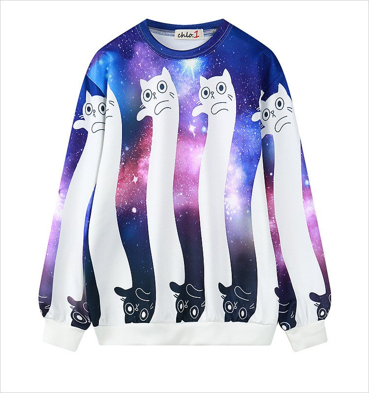 Galaxy Cat Sweatshirt / Sudadera Gato Galaxia WH299 Kawaii Clothing