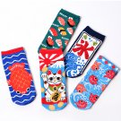 Kawaii Clothing Japan Socks Cat Sushi Maneki Neko Koi Fish Carp WH263