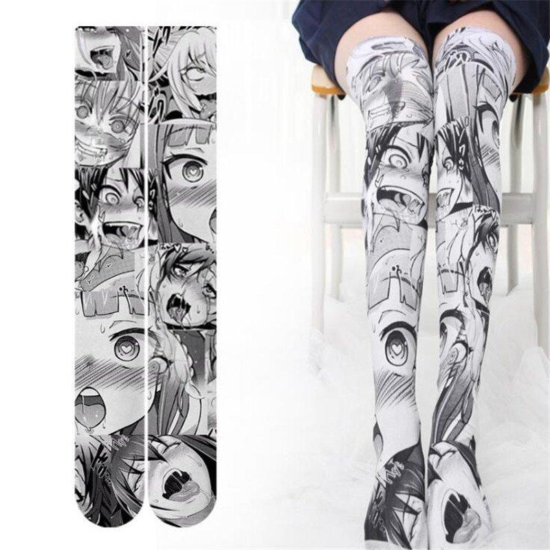 Kawaii Clothing Hentai Sexy Ahegao Face Tights Socks Stockings WH251