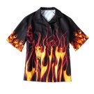 Kawaii Clothing Flames Shirt Blouse Fire Punk Black Rock Gothic WH281