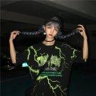 Kawaii Clothing Black Punk Lightning Thunder Lightning T-Shirt WH295