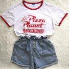 Kawaii Clothing White Japanese Korean Top Pizza Planet T-Shirt WH306