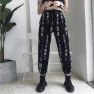 Kawaii Clothing Black Punk Rock Emo Cool Kanji Old Letters Pants WH319