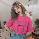 Kawaii Clothing Barbed Wire Thorns Punk T-Shirt Black Pink Spikes W279