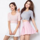 Kawaii Clothing Pastel Skirt Pleated Mini Pink Black White Blue WH262