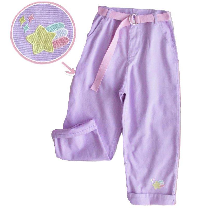 Kawaii Clothing Pastel Goth Pants Purple High Waist Jeans Belt WH211