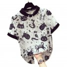Kawaii Clothing Blouse Cats Shirt Black White Monster Alien Punk WH051