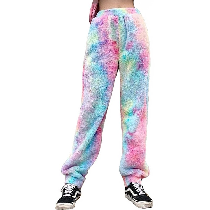 Kawaii Clothing Dye Tie Rainbow Pants Trouser Sweatpants Fur Fun WH509