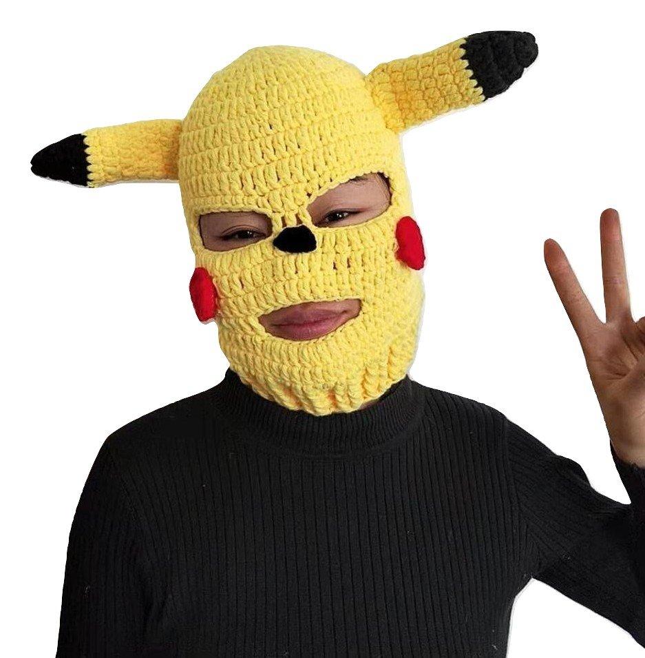 Kawaii Clothing Pikachu Pokemon Ski Mask Knitted Funny Costume Cartoon Anime WH328