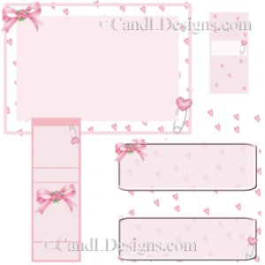 Pink Hearts Candy Wrapper/Party Favors Set [dl061]