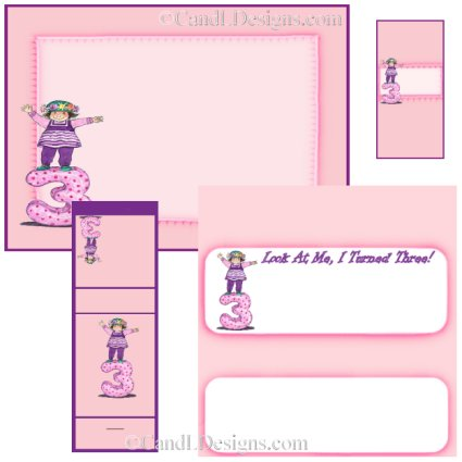 Girl 3rd Birthday Candy Wrapper/Party Favors Set [dl015]