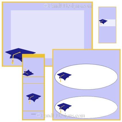 Blue Cap Graduation Candy Wrapper/Party Favors Set [dl019]