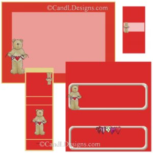 Teddy Hearts Candy Wrapper/Party Favors Set [dl022]